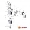 Válvula sifón con salida curva - Despiece