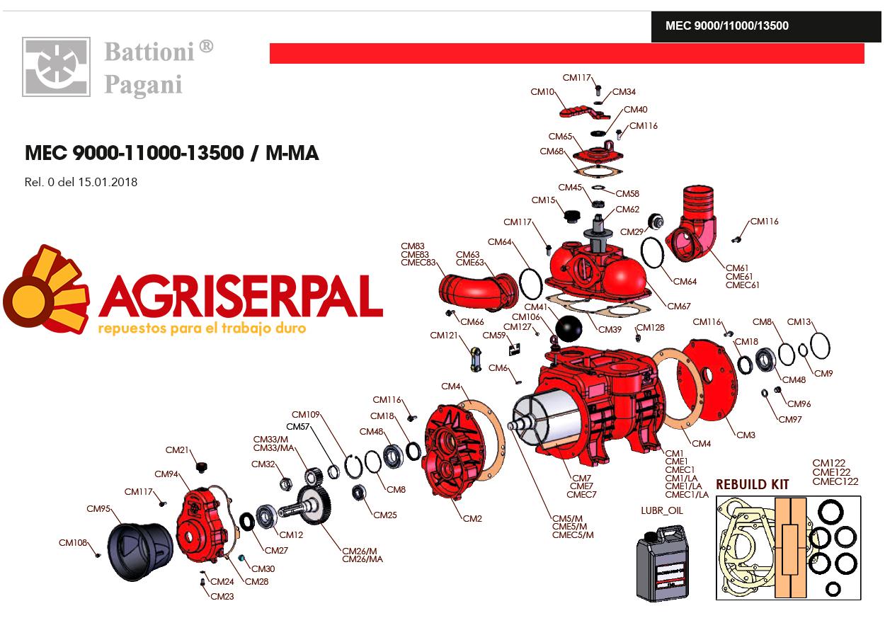 Despiece MEC 9000-11000-13500-M Eje estriado tractor
